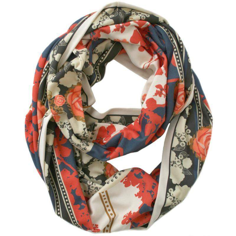 Red Blue Floral Print Infinity Scarf-scarves-Necklush