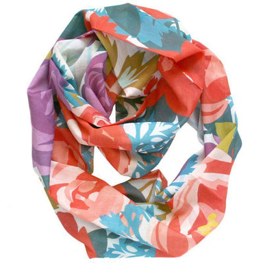 Red Blue Purple Floral Infinity Scarf-scarves-Necklush