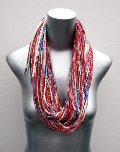Red Blue Purple Chunky Scarf-scarves-Necklush