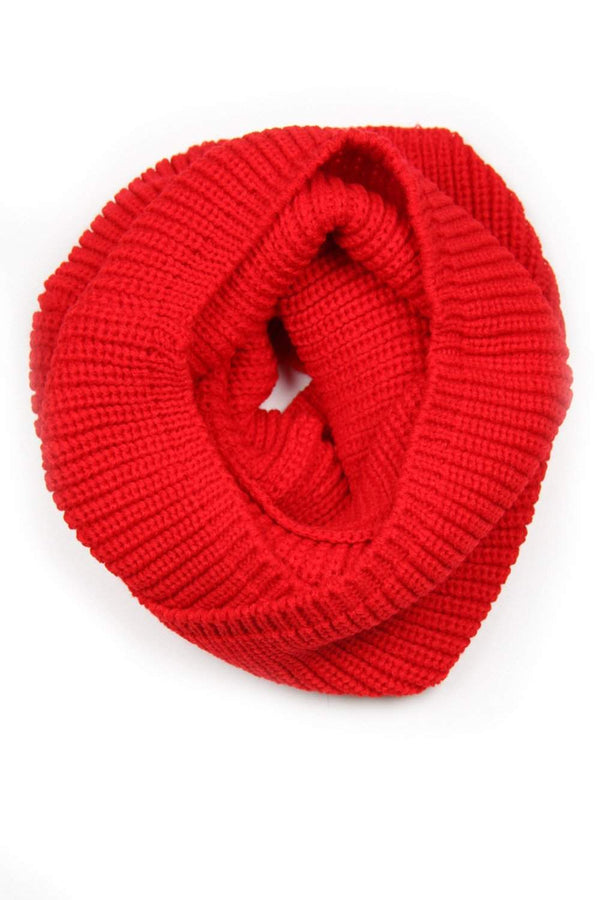 Red Infinity Scarf, Knit Cowl, Circle Loop, Womens, Mens-scarves-Necklush