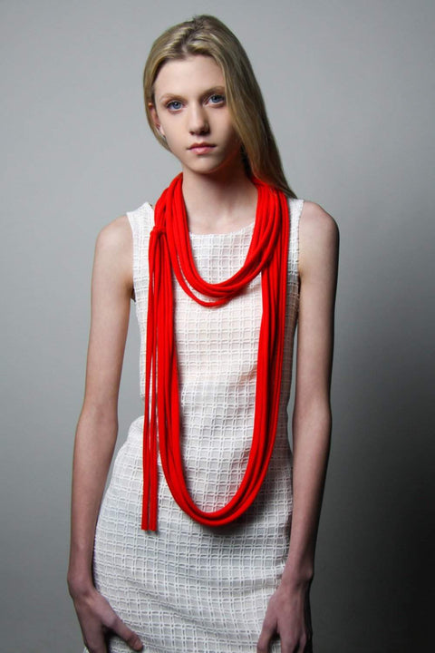 Red Long Scarf-scarves-Necklush