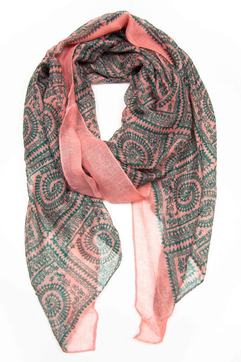 Salmon Pink Forest Green Scarf