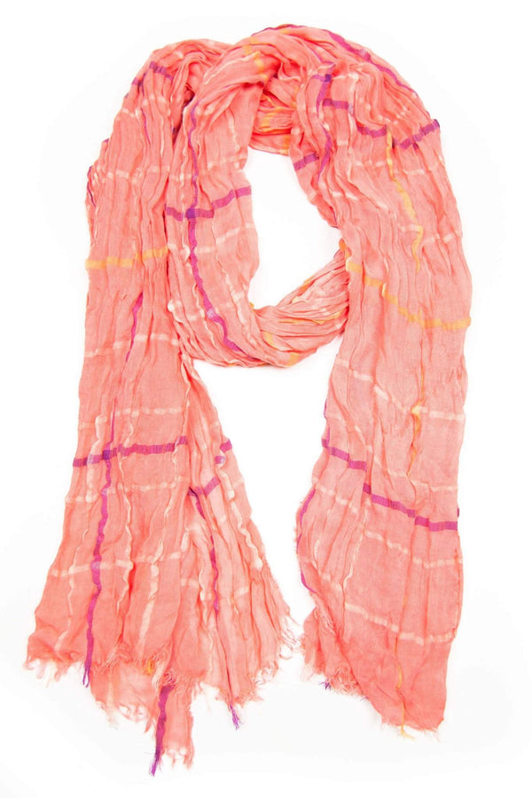 Salmon Pink with Violet Purple Stripes Scarf-scarves-Necklush