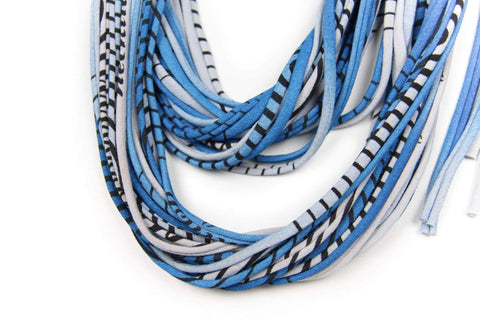 Shimmery Blue Grey with Stripes / Classic-scarves-Necklush