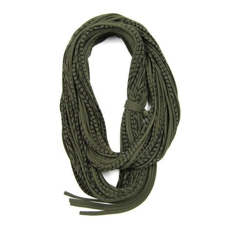 Striped Military Green Chunky Scarf-scarves-Necklush