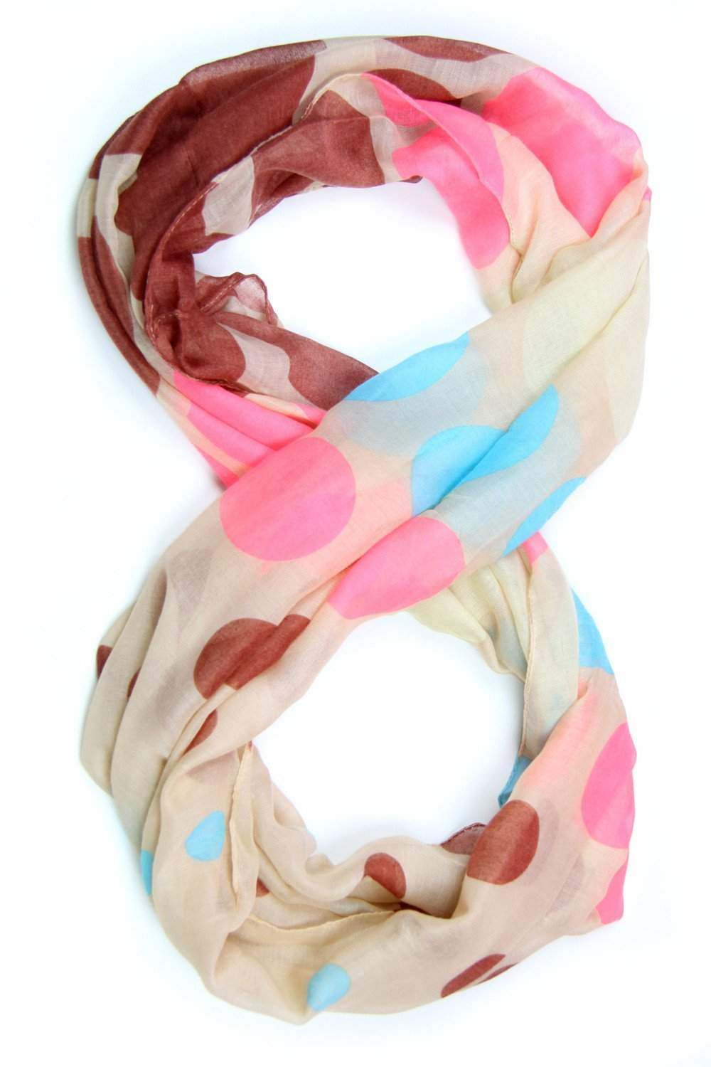 Tan Pink Blue Infinity Scarf-scarves-Necklush