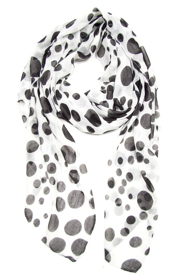 White Black Giant Polka Dot Scarf