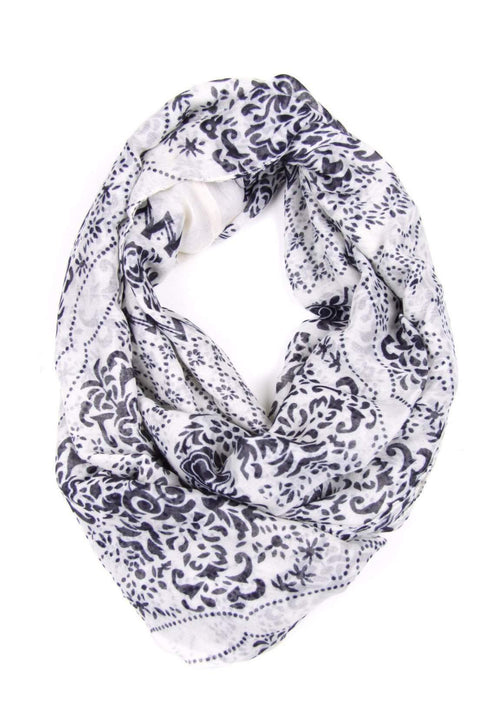 White Purple Circle Scarf