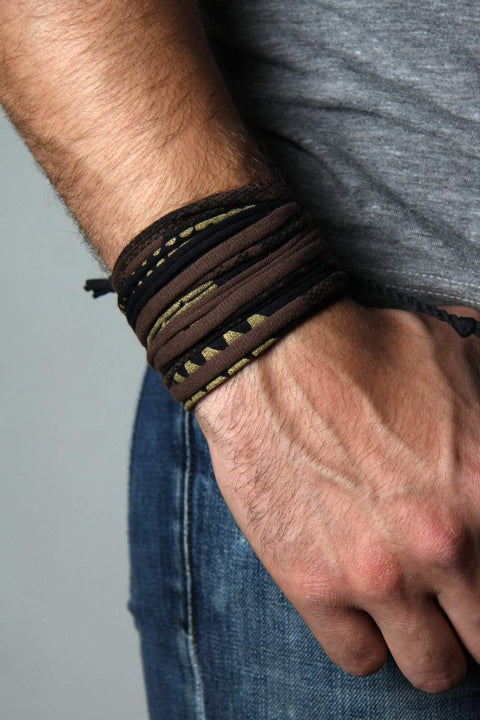 Wrap Bracelet / Brown Black Gold