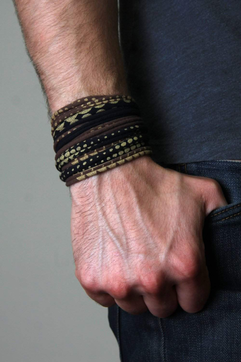 Wrap Bracelet / Brown Black Gold-bracelets-Necklush