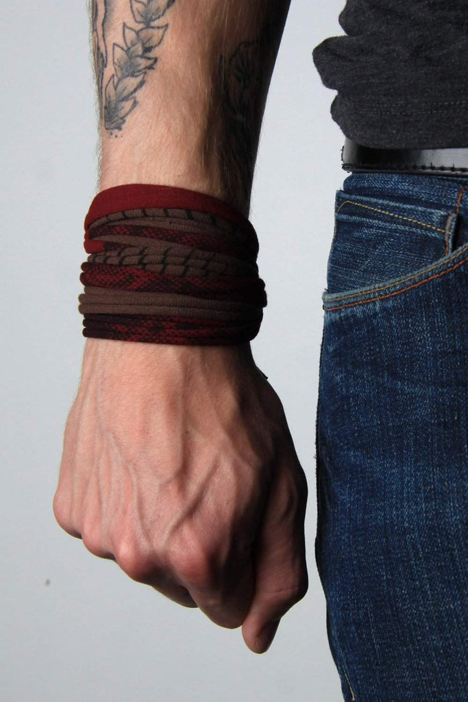 Wrap Bracelet / Maroon Brown Striped