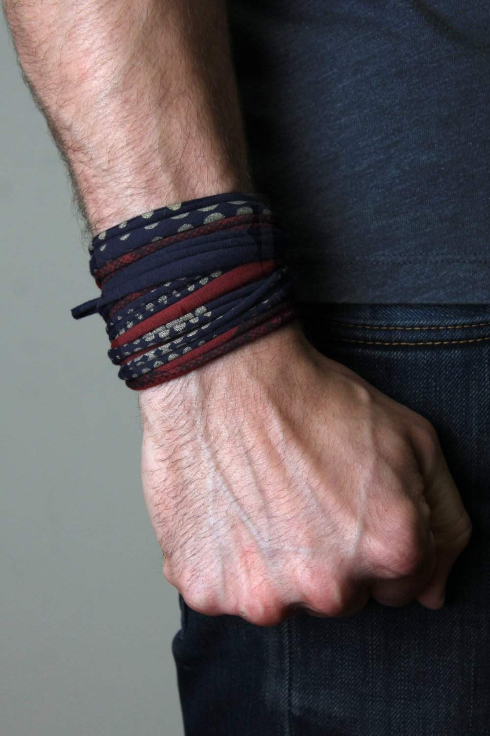 Wrap Bracelet / Navy Blue Maroon Gold