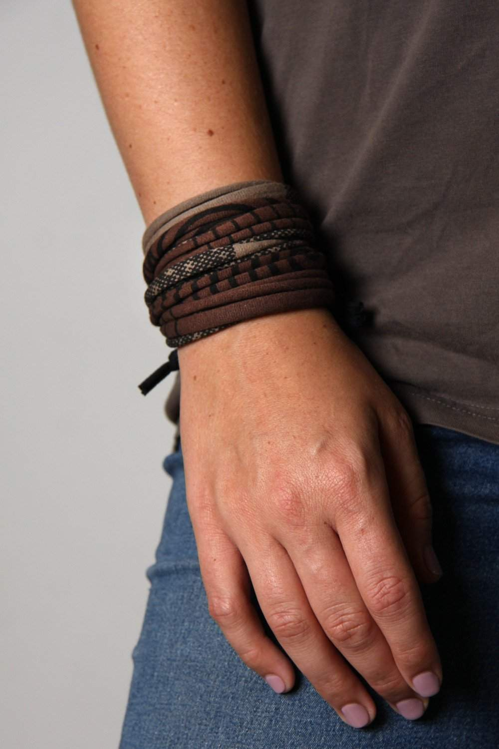 Wrap Bracelet / Taupe Brown Stripes-bracelets-Necklush