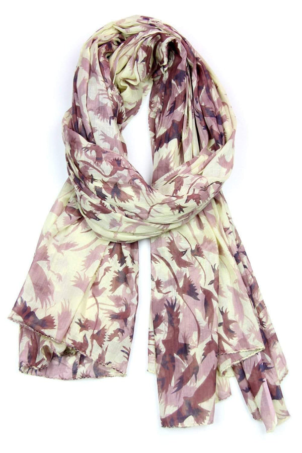 Yellow Brown Bird Print Soft Cotton Scarf-scarves-Necklush