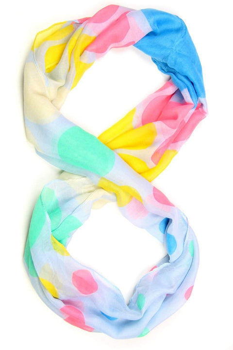 Yellow Green Pink Blue Infinity Scarf-scarves-Necklush