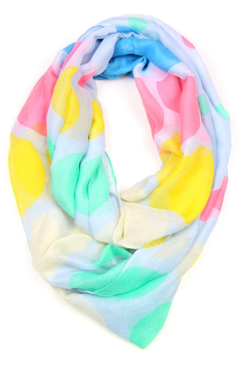 Yellow Green Pink Blue Infinity Scarf