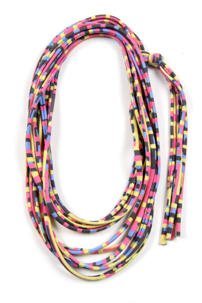 Yellow Pink Blue Skinny Scarf Necklace