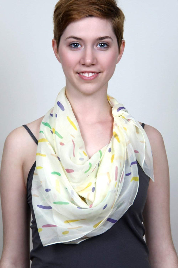 Yellow Womens Square Silk Chiffon Scarf-scarves-Necklush