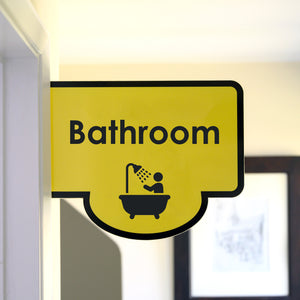 Bus Stop style Protruding Bathroom Sign