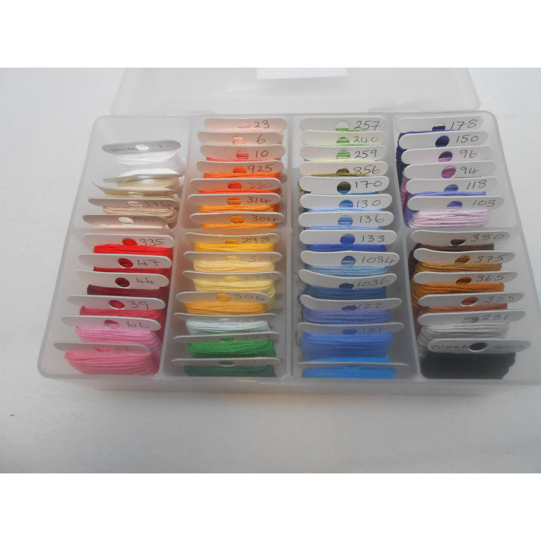 Anchor Stranded Cotton Threads 50 full skeins bobbins inc Storage Box colours may vary - Tandem Cottage Needlework