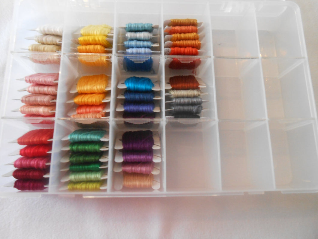 DMC Stranded Cotton Threads 50 full skeins bobbins inc Large Storage Box colours may vary