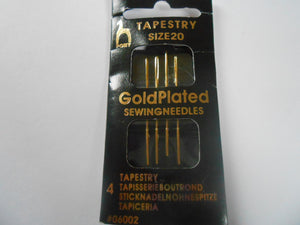 Pony Gold Plated Tapestry Needles Size 20 - Pack of 4
