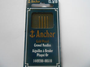 Anchor Gold Plated Crewel Needles Size 5/10 - Pack of 4
