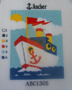 "Anchor ""Boat"" Printed Tapestry Canvas only"