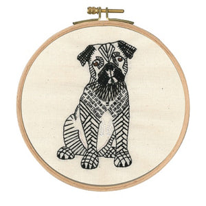 "DMC Embroidery Kit ""Doug the Pug"" Hoop included - Tandem Cottage Needlework"