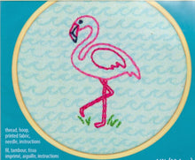 "Load image into Gallery viewer, Embroidery Kit ""Flamingo Fun"" by Dimensions"