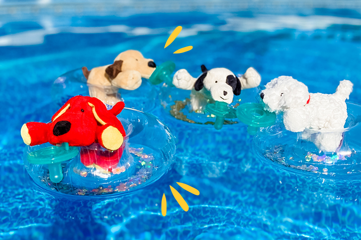 Dog Days of Summer Collection images has the red dog, brown puppy, mackie black and white spotted puppy and budster the bichon, all floating in a pool