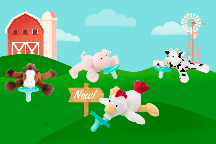 Farm Friends collection animated farmland photo with horse, piglet, spotted cow and rooster wubbanubs
