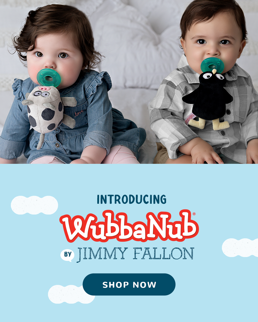 Babies with Jimmy Fallon MAMA Penguin and DADA Moo Cow WubbaNubs