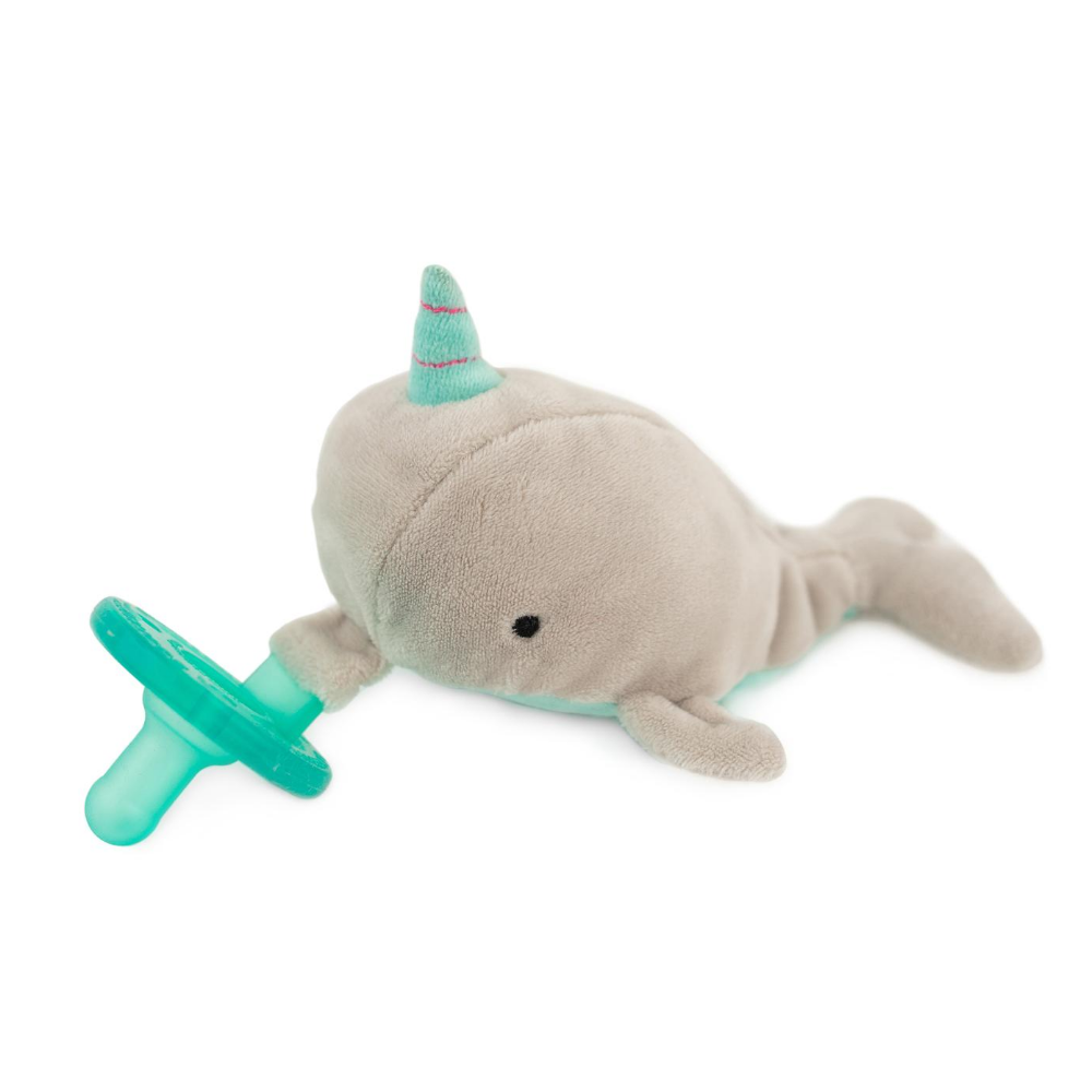 Marni Narwhal is grey with a teal belly and matching horn highlighted with shimmering pink.