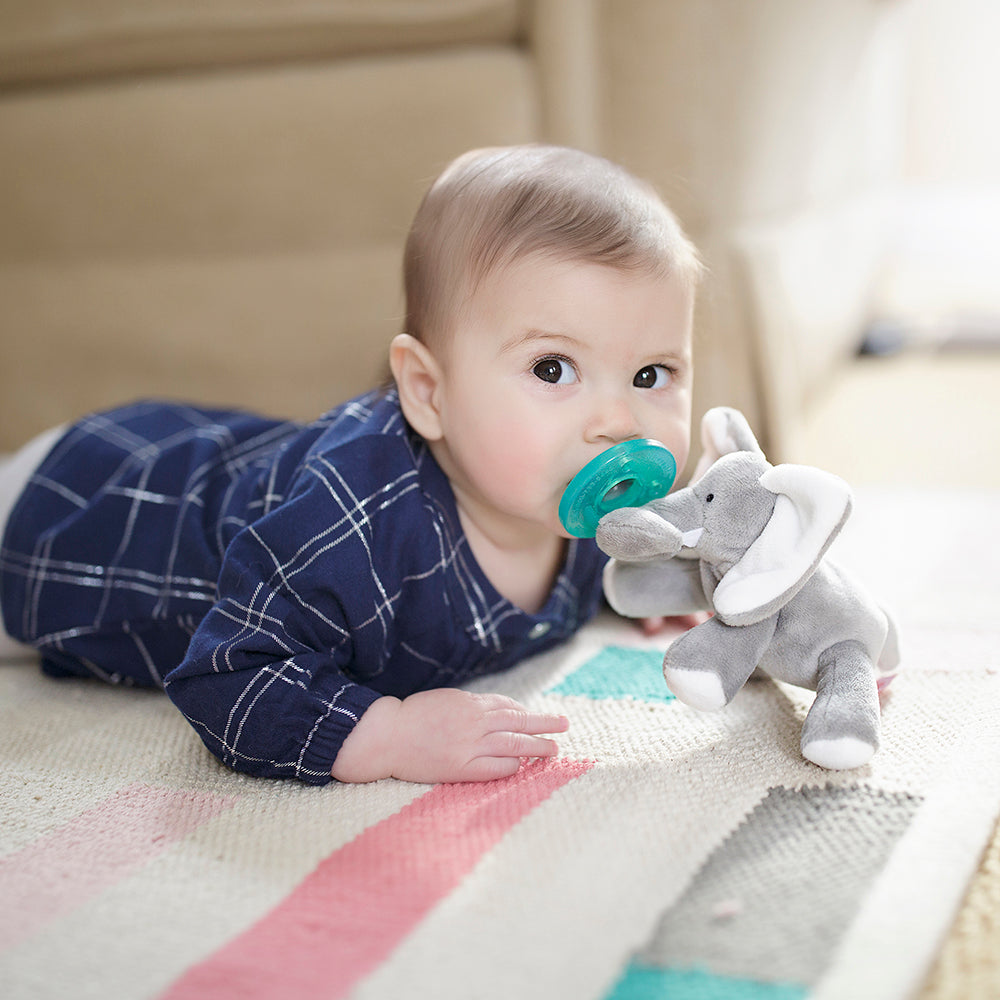 Wub grey elephant with white accents photo with baby