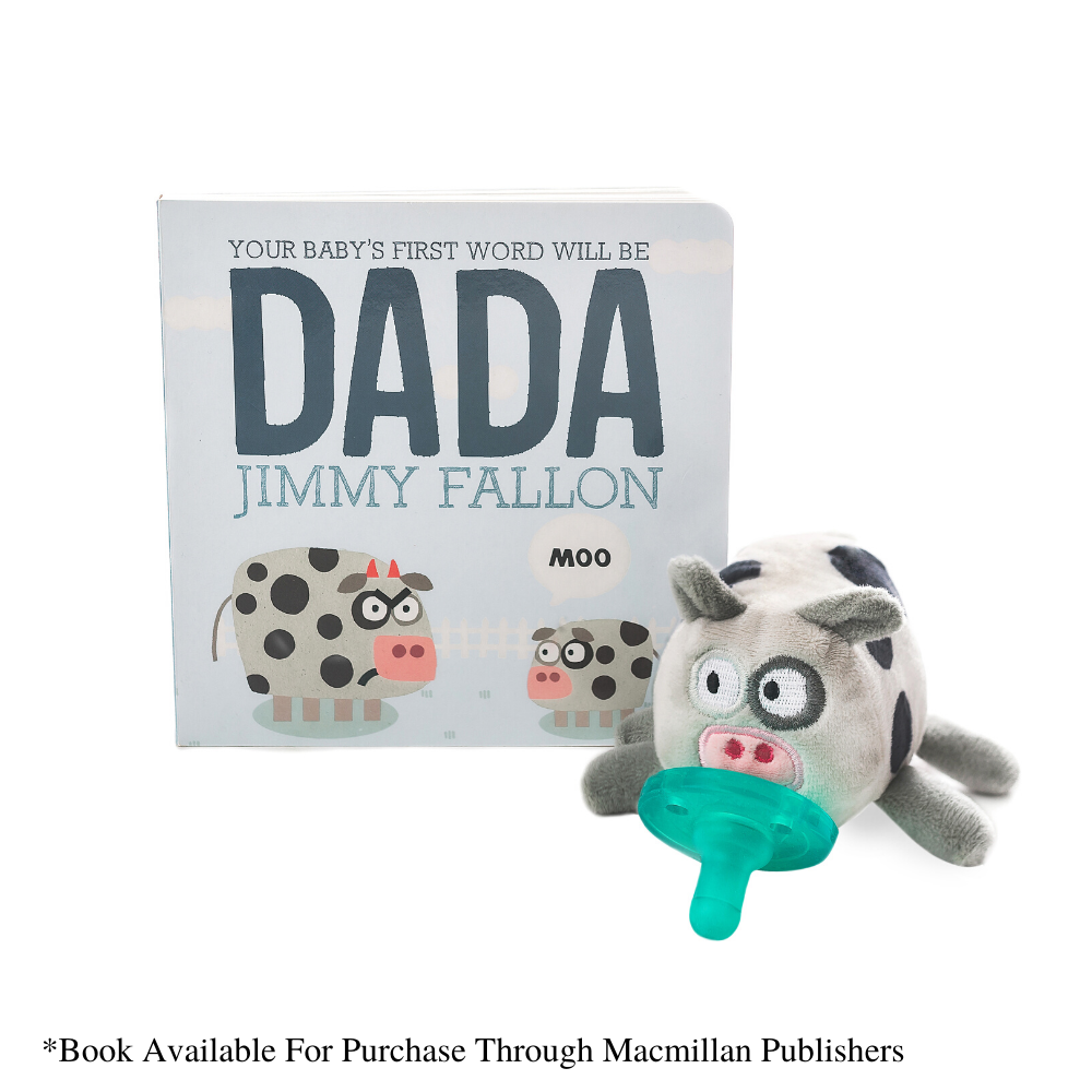 Photo of Dada moo cow wubbanub with Jimmy Fallon DADA Book.  Book sold separately