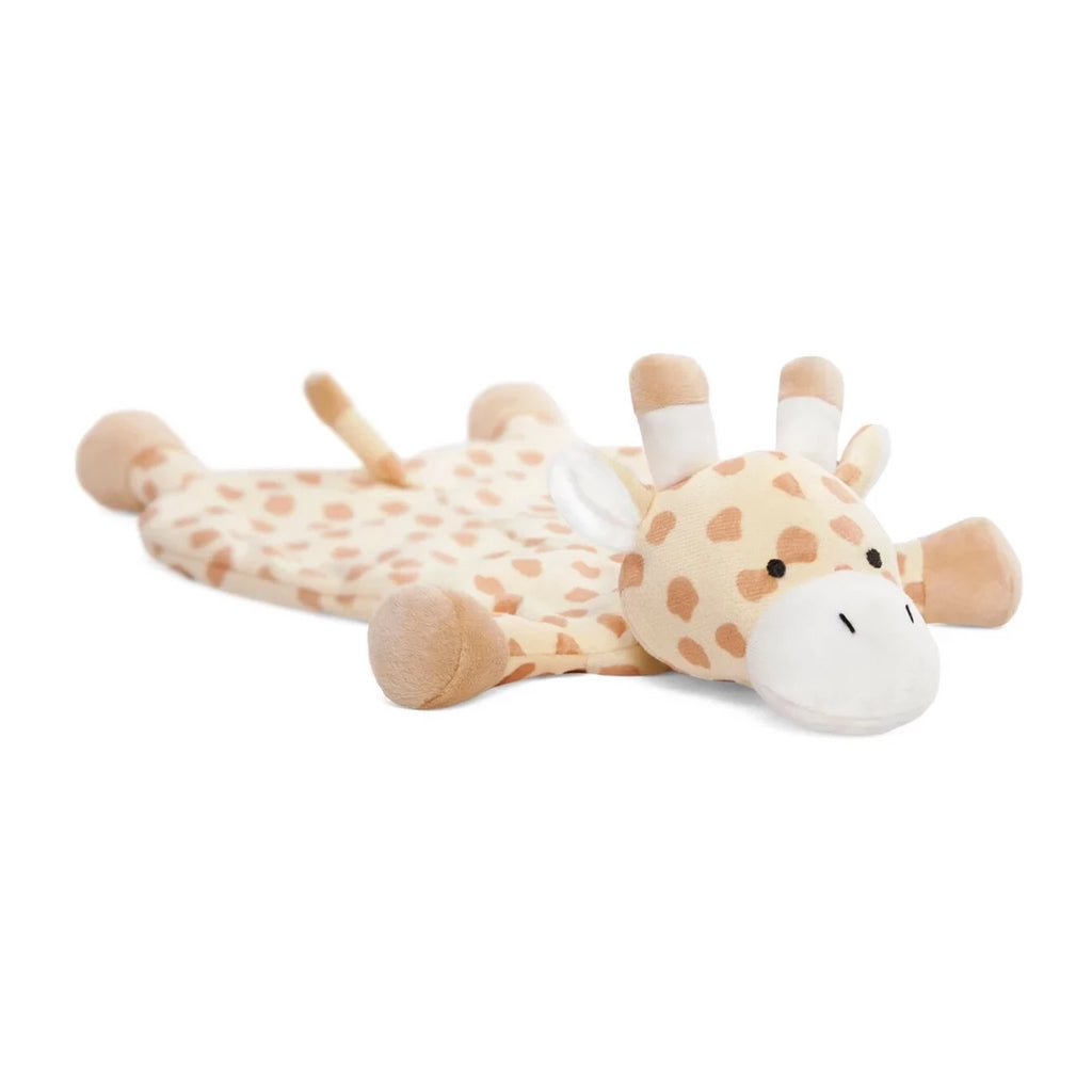 soft spotted yellow and tan giraffe lovey blankie known as buttercup