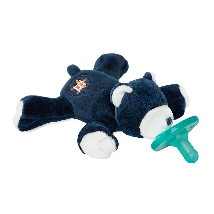 Houston Astros MLB WubbaNub is navy blue with Houston Astros symbol embroidered on bear