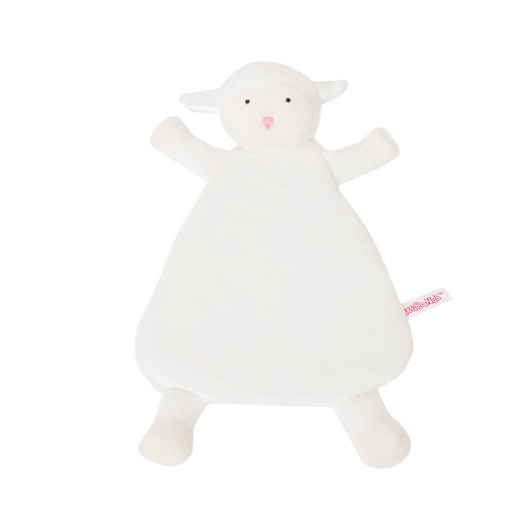 White Lamb Lovey Blankie with pink nose