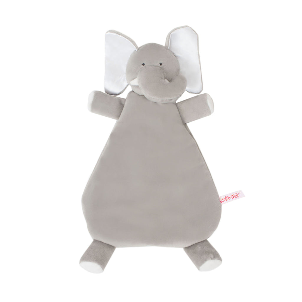 soft gray elephant lovey blankie with white accents