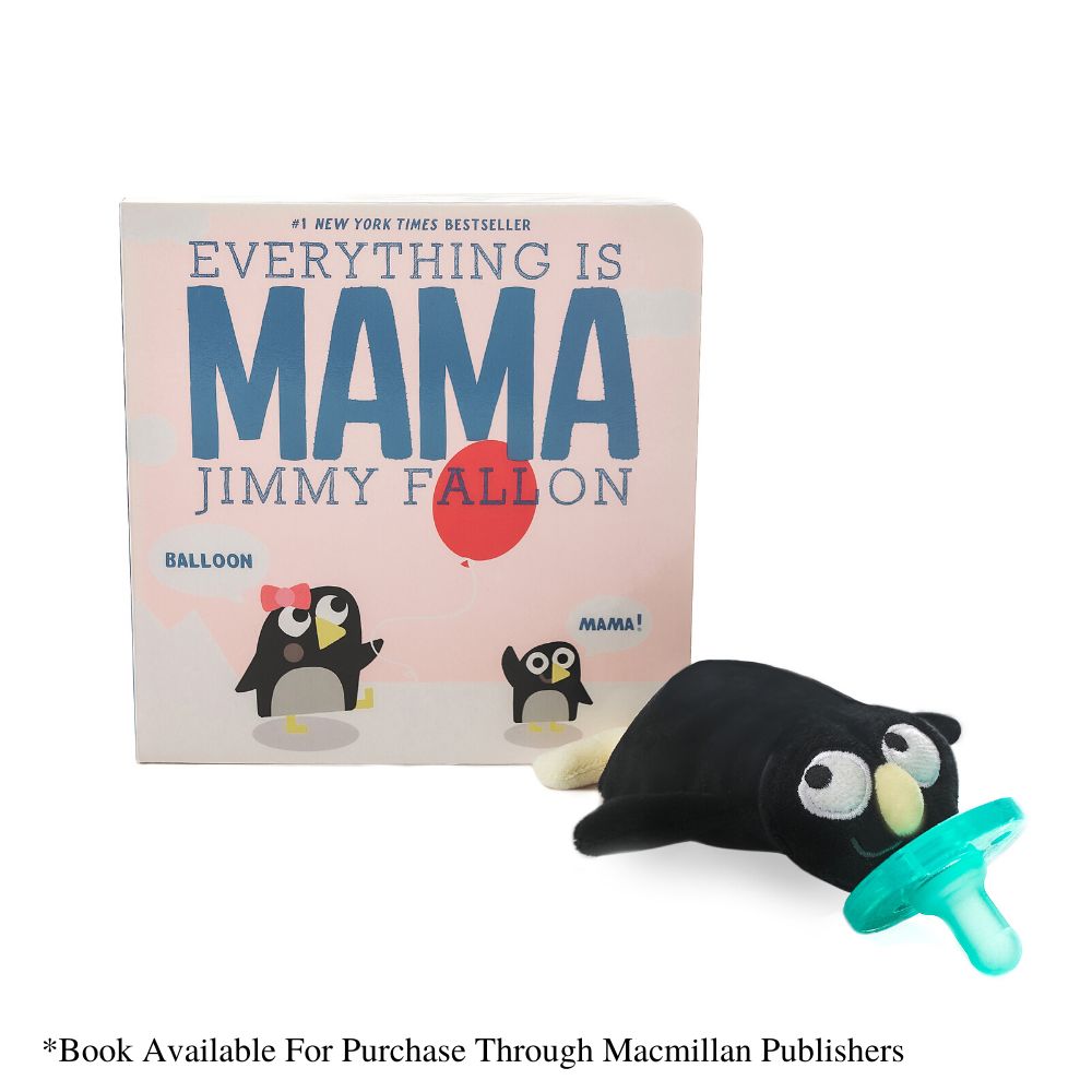 Photo of WubbaNub MAMA Penguin WubbaNub by Jimmy Fallon with Jimmy Fallon MAMA Book.  Book sold separately
