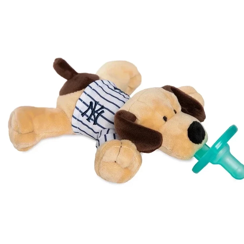 New York Yankees tan Puppy has brown ears and tail and is wearing a pinstripe jersey with the NY Yankees emblem embroidered on it