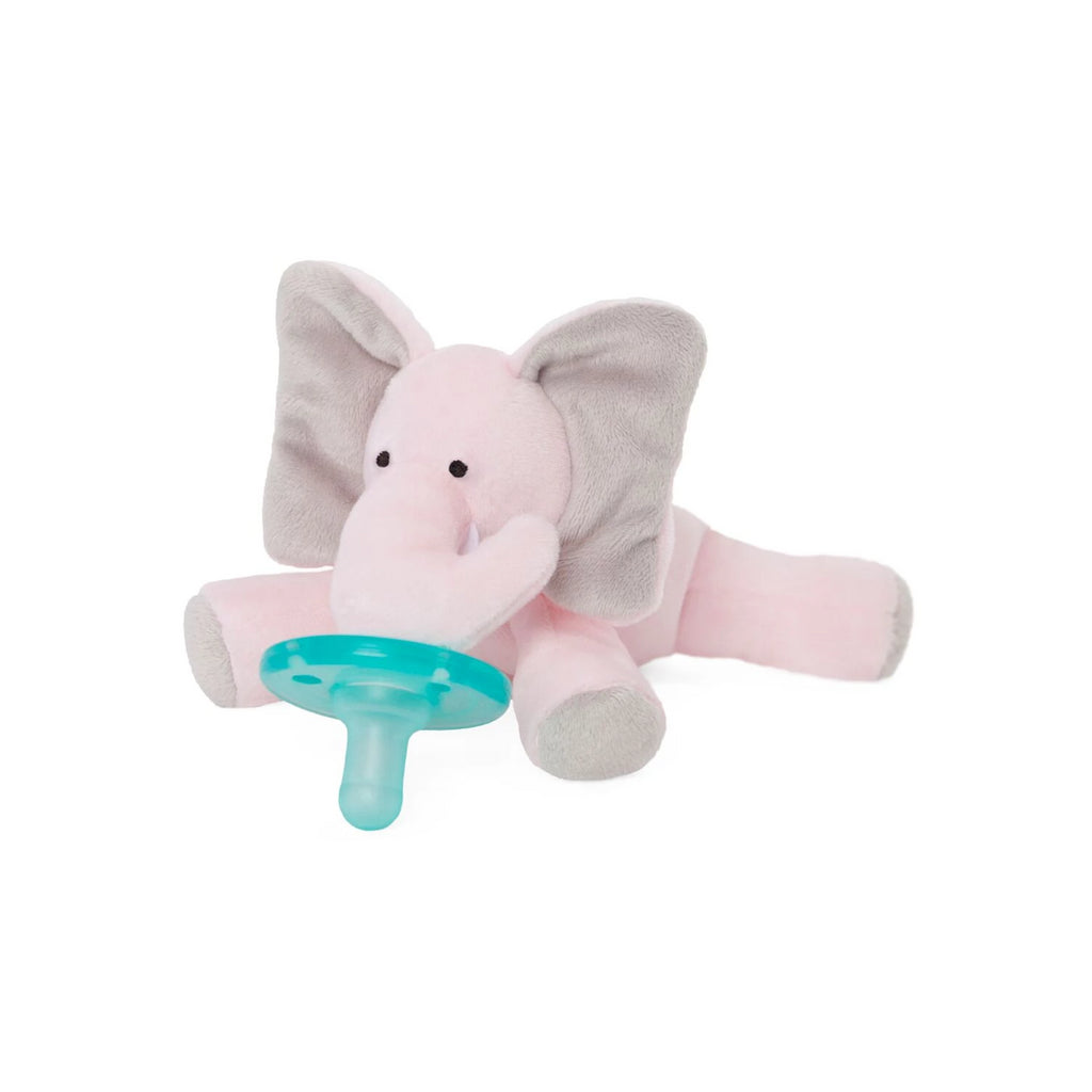 WubbaNub Infant Plush Pacifier Pink Elephant is soft pink fabric with grey accents on pads and ears