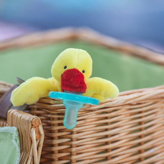 yellow duck wubbanub in basket
