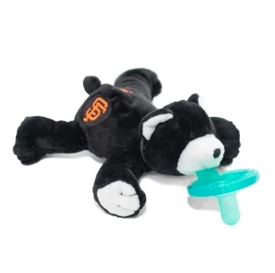 WubbaNub MLB San Francisco Giants Bear is black fabric with white accents on paws, face and ears and has an orange SF emblem on rear