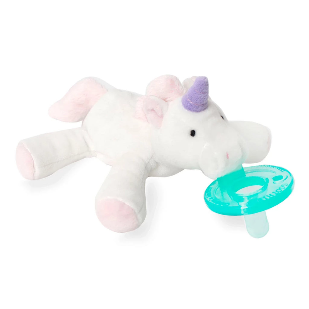 WubbaNub Infant Pacifier white Unicorn with pink accents and purple horn