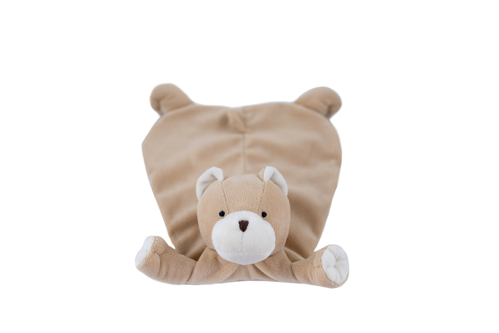Wubbanub tan CHD Heart warrior lovey blankie has white accents and a embroidered scar and red heart
