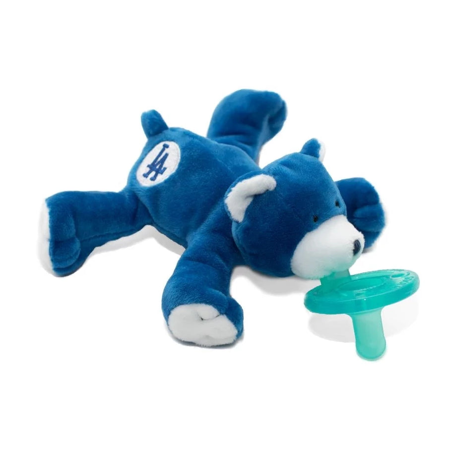 wubbanub MLB Los Angeles Dodgers bear pacifier is royal blue with white paws, snout and ears and an LA emblem on it's rear