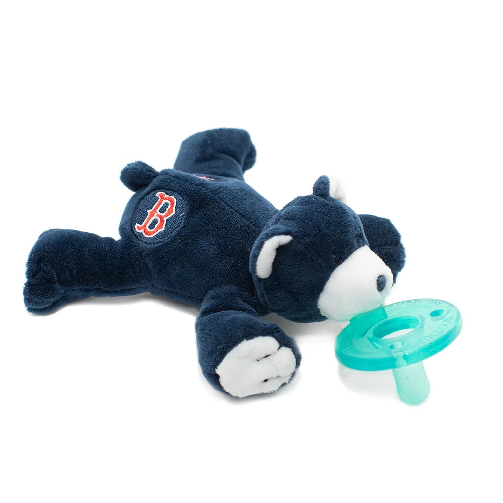 WubbaNub MLB Boston Red Sox Bear is navy blue fabric with white accents on face, ears and paws and has a B emblem on both sides of rear