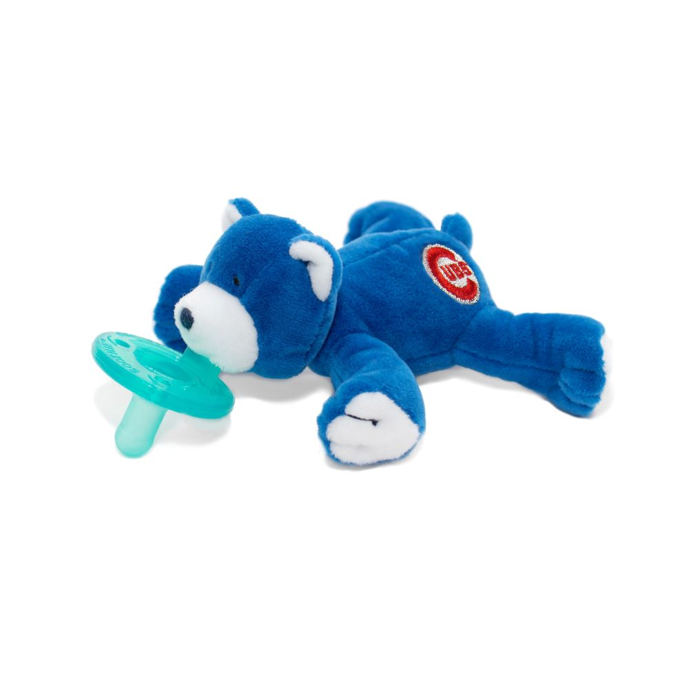 WubbaNub MLB Chicago Cubs Bear is royal blue with embroidered red cubs stitching
